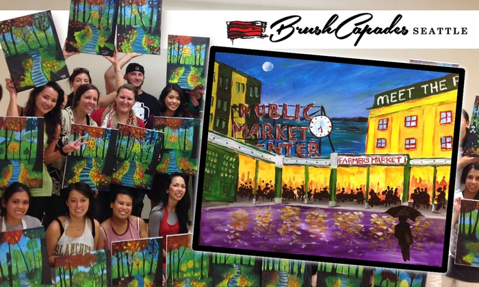 BrushCapades Seattle - Pioneer Square: BrushCapades Seattle: Pike Place Wine and Paint Party