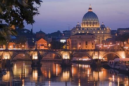 Roma di notte con pizza e gelato