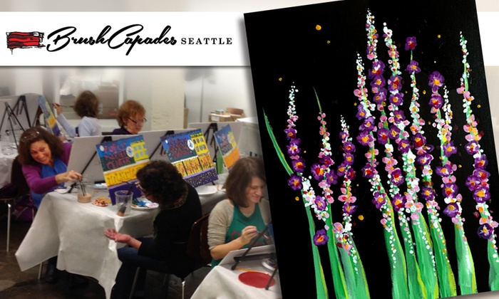 BrushCapades Seattle - Pioneer Square: Wine & Paint Party: Snapdragons & Fireflies at BrushCapades Seattle