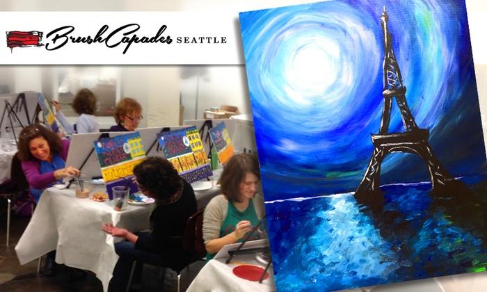 BrushCapades Seattle - Pioneer Square: Eiffel Tower Wine & Paint Party at BrushCapades Seattle