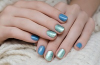 Blue and green winter manicure