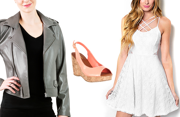 criss cross dress leather jacket wedges