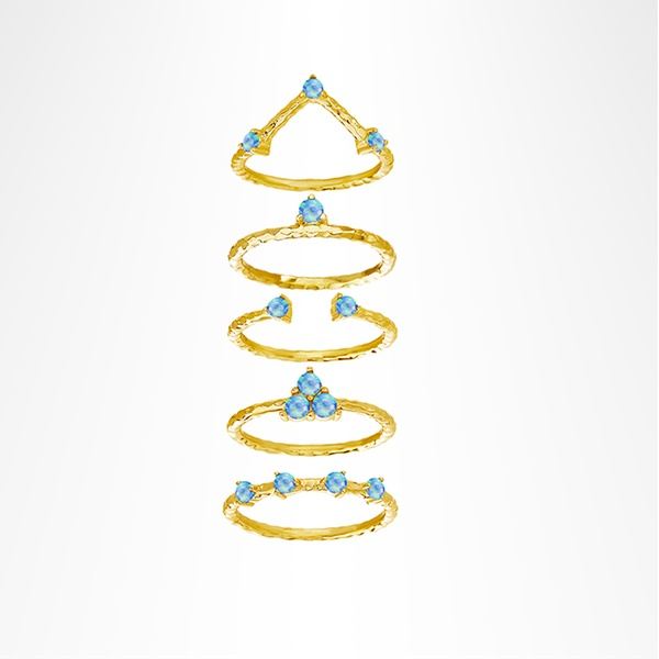 sterling silver blue opal 5-piece stackable-ring set