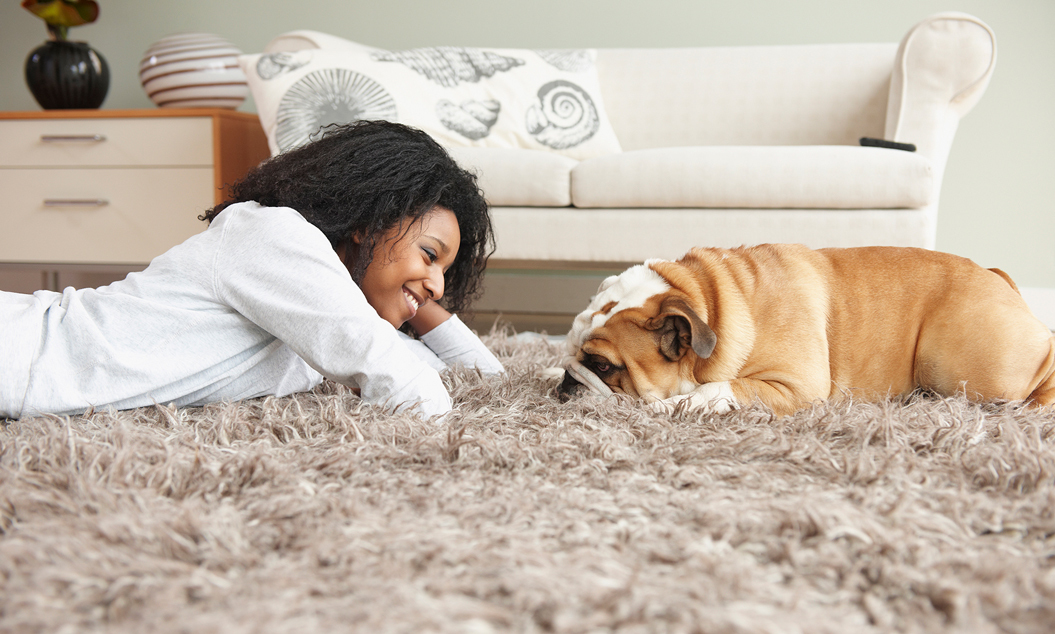 Woman and dog lying on clean carpet
