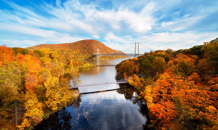 Autumn view of the Hudson River Valley
