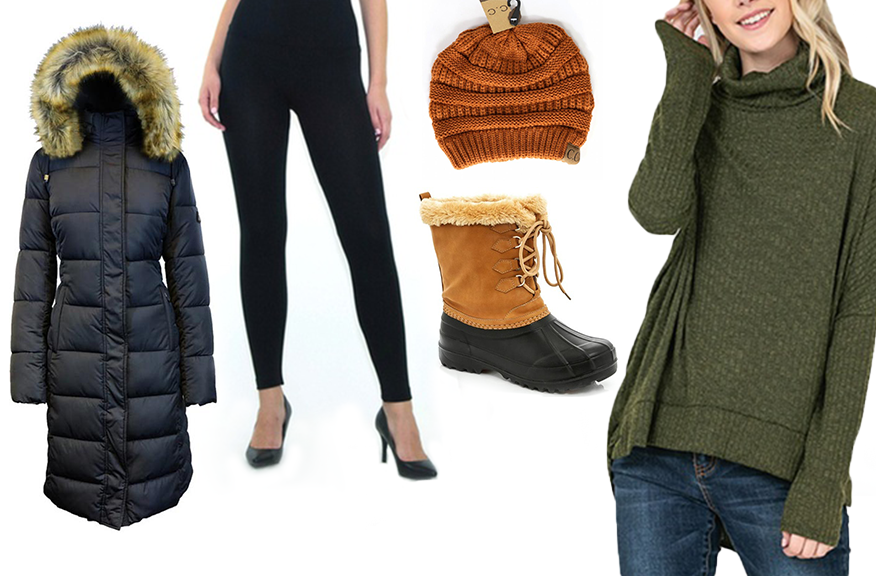 Collage of a winter parka, fleece-lined leggings, knit hat, snow boots, and turtleneck