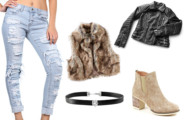 mild winter women's outfit leather jacket faux-fur vest distressed jeans booties choker