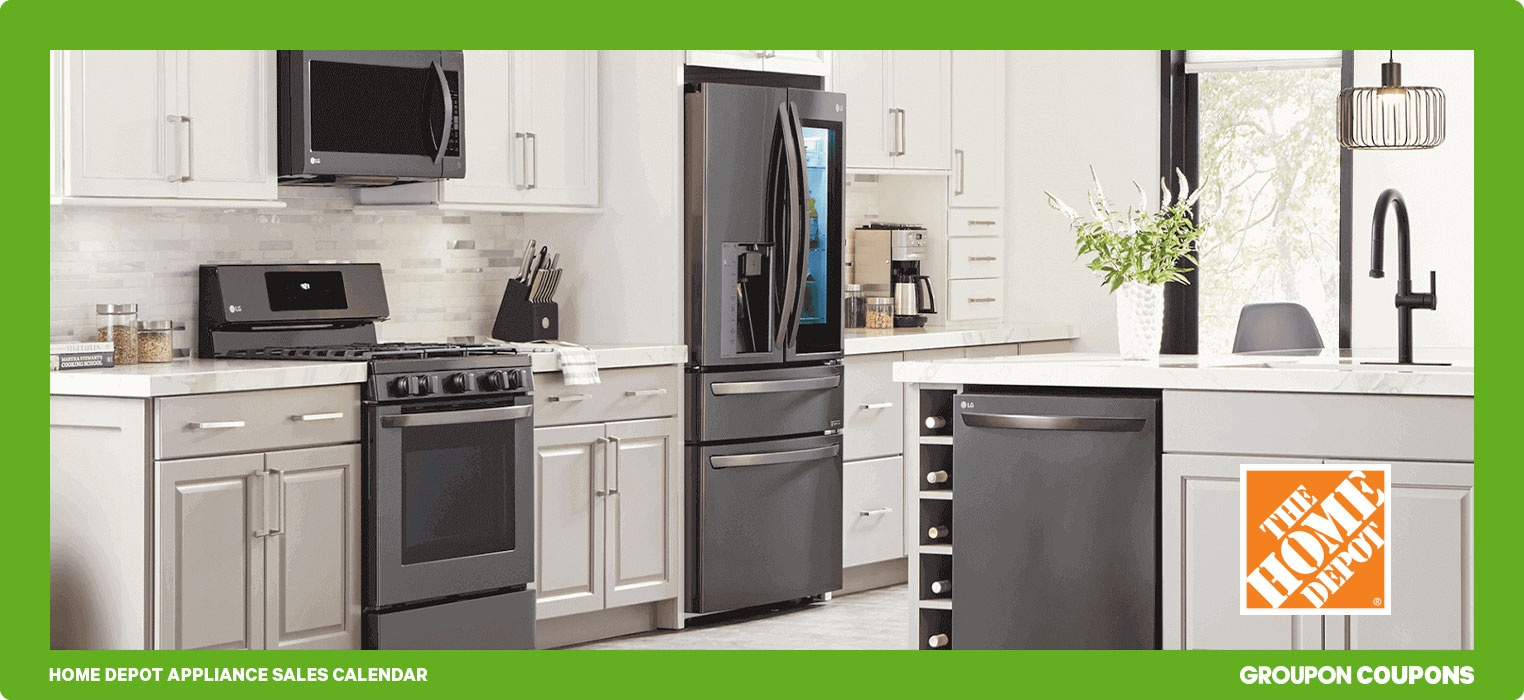 Stainless steel appliances in white kitchen | Home Depot