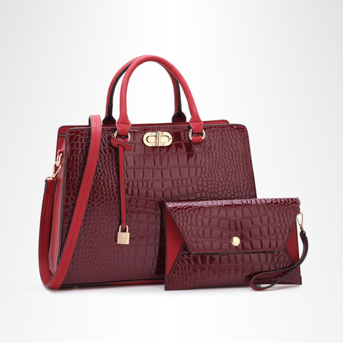 Faux Crocodile Leather Bag With Wallet