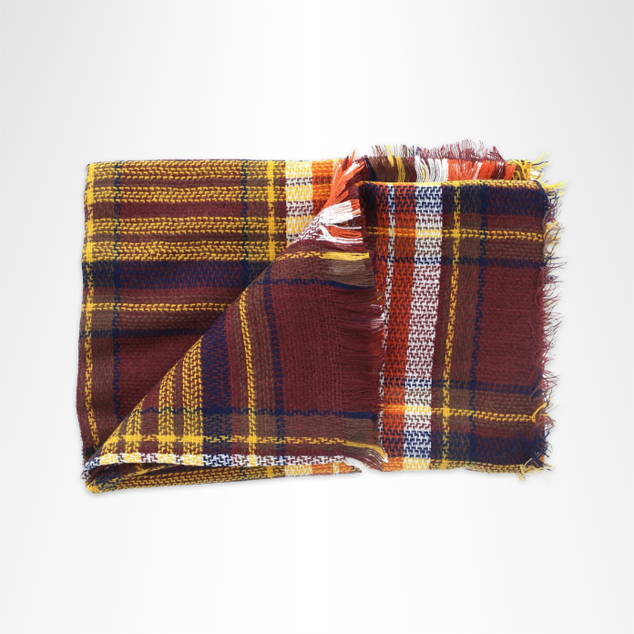 Autumnal pumpkin-colored plaid blanket scarf