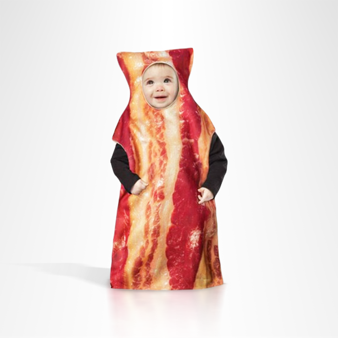 Baby in bacon bunting costume