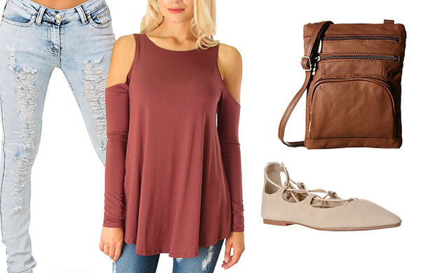 cold shoulder top distressed jeans crossbody bag lace up flats