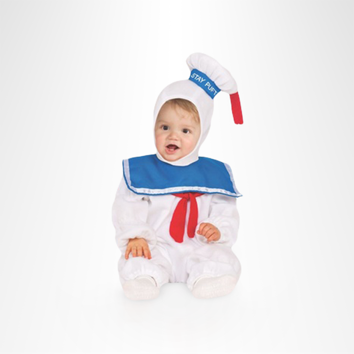 baby in stay puft marshmallow man costume