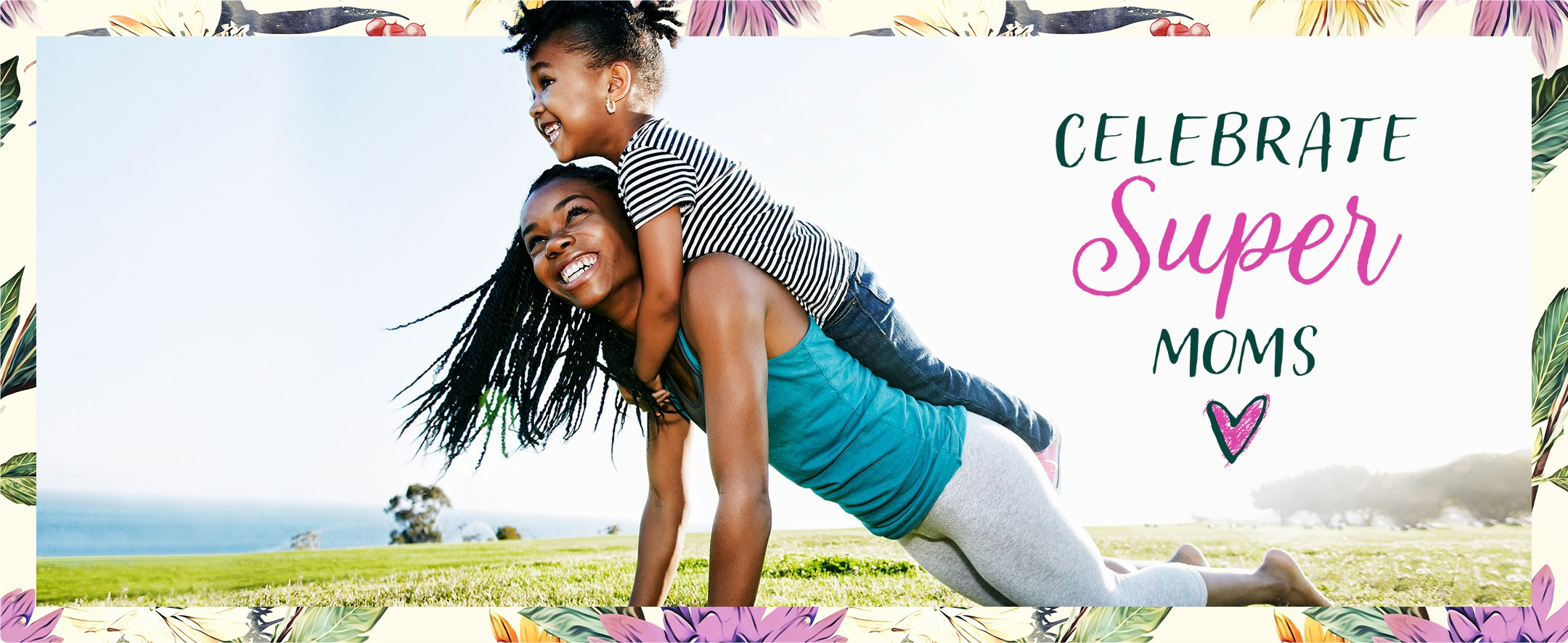 Mother doing yoga with smiling daughter on her back