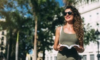 Woman holding guidebook