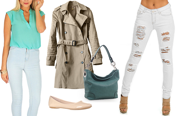 distressed denim brightly colored blouse nude ballet flats trench coat handbag