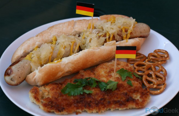 Bratwurst with Sauerkraut  Chicken Schnitzel and Pretzels