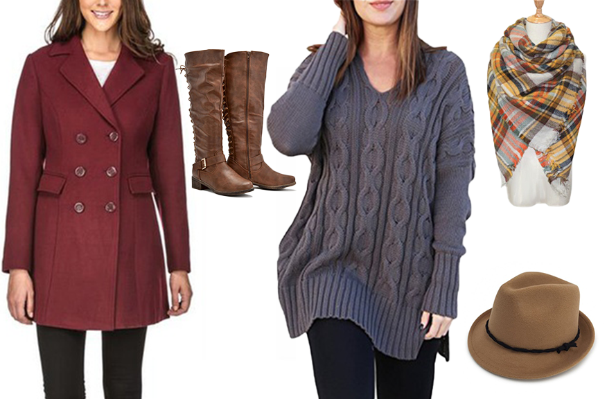 Collage of wool coat, knee-high boots, gray sweater, blanket scarf, and tan fedora