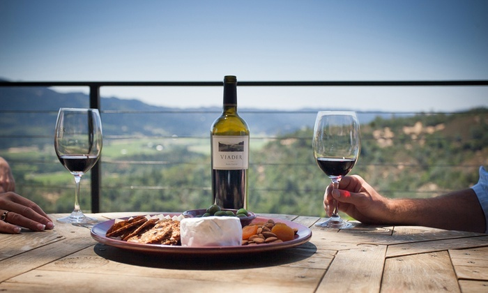 Wine and cheese plate overlooking vineyard in Napa Valley