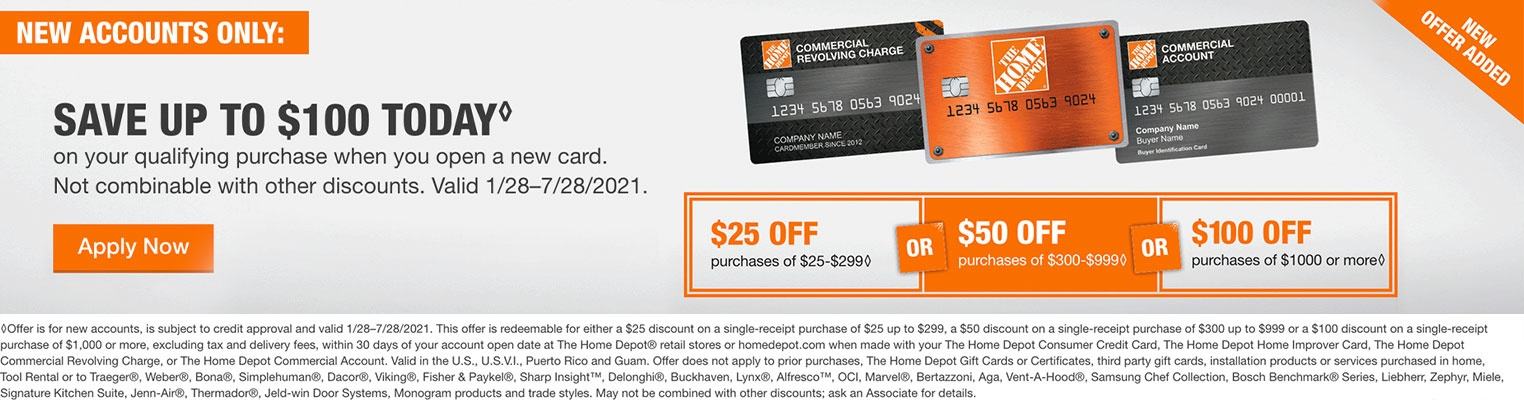 Home Depot Credit Card new account promotion