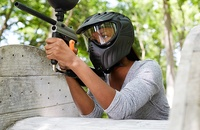 Woman playing paintball