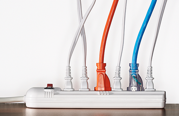 surge protector power strip with neatly organized cords
