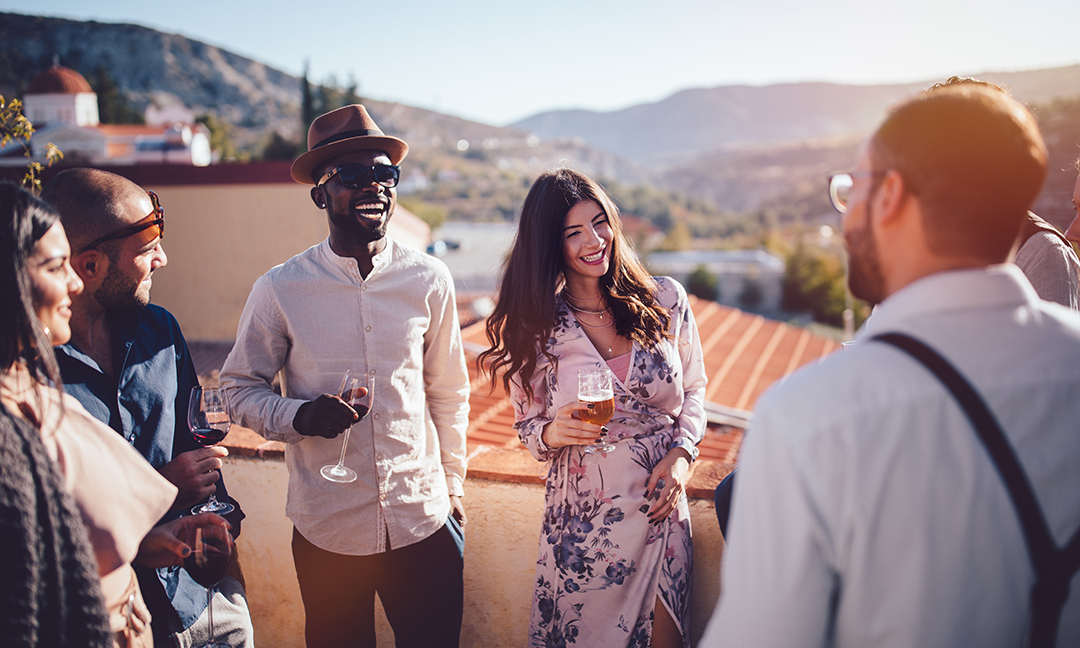Friends at a rooftop birthday party