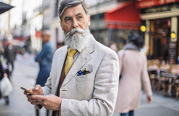 suit materials older man with beard in linen suit
