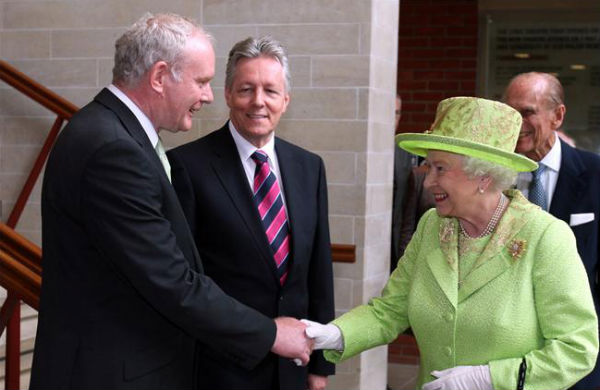 The Queen shaking hands with Martin McGuinness