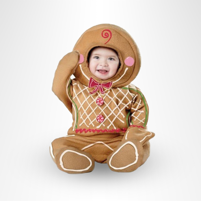 baby in gingerbread man costume