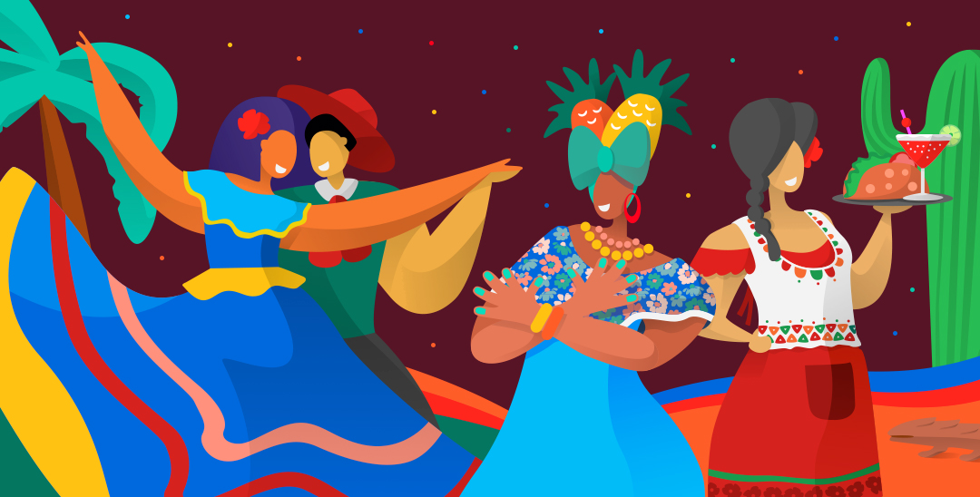 Illustration of Hispanic people and merchants on colorful background by Marcelo Butzke