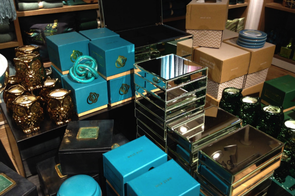 Turquoise and gold coloured gifts in West Elm in London