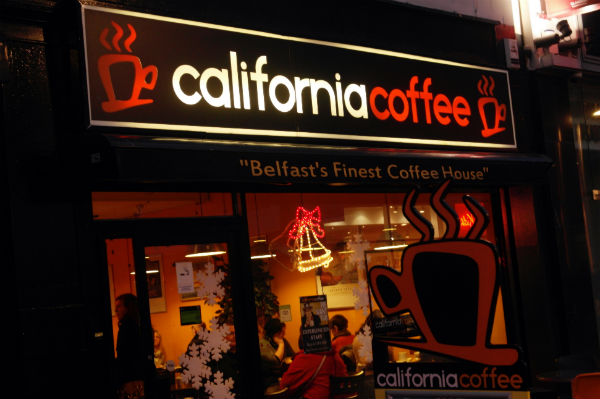 The exterior of California Coffee - where the best coffee in Belfast is sold