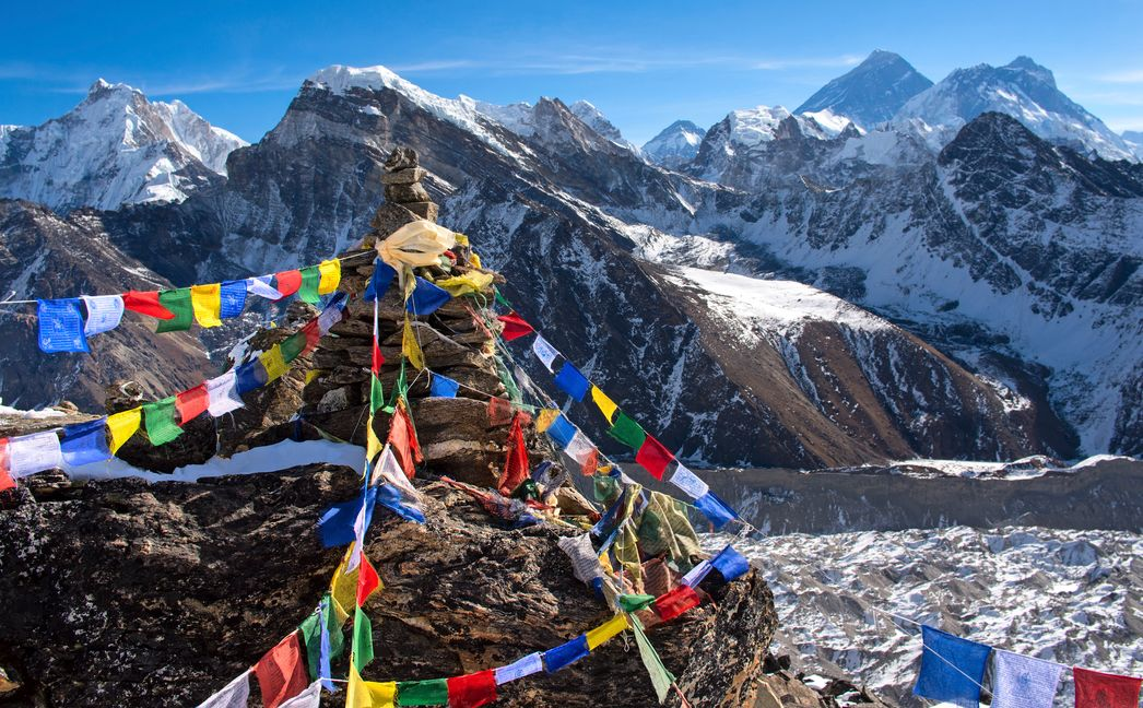 Himalayas with colorful prayer flags flying