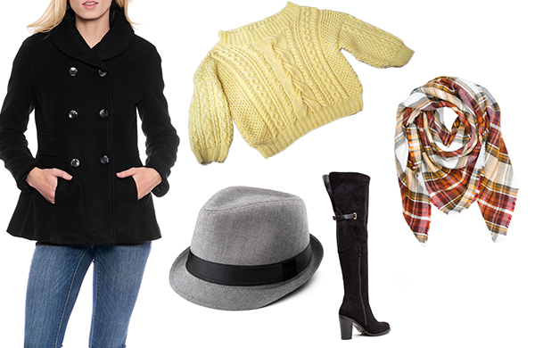 moderate winter women's outfit pea coat cable-knit sweater blanket scarf over-the-knee boots fedora