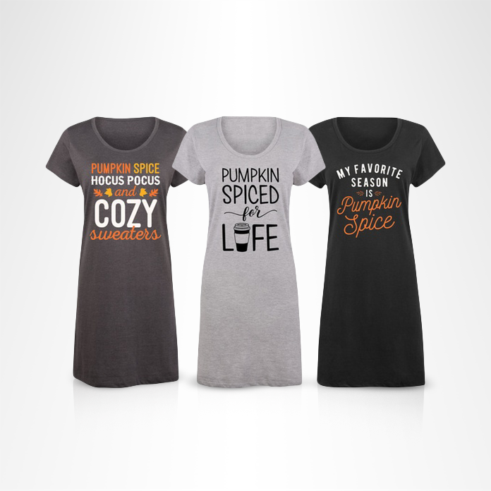 pumpkin spice women's sleep shirts