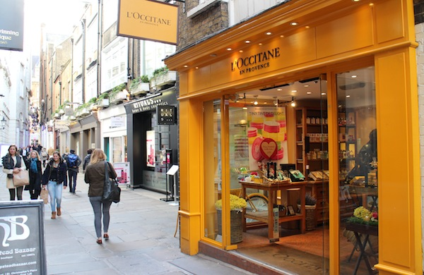 Outside the L'Occitane shop in St Christopher's Place