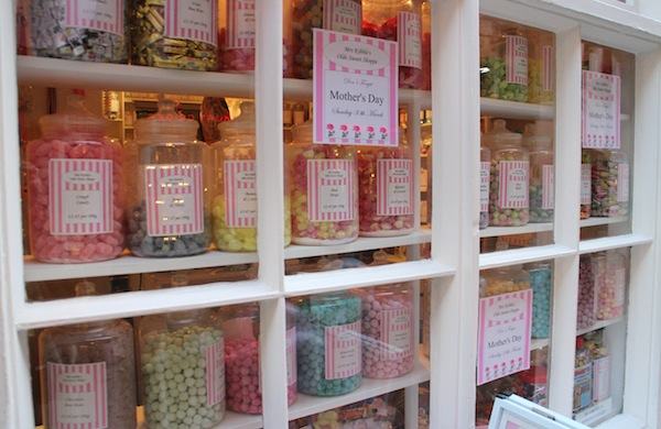 Sweet jars in the window of Mrs Kibble's Olde Sweet Shoppe