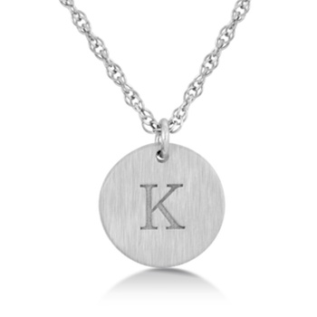 Sterling Silver Engravable Initial Pendant
