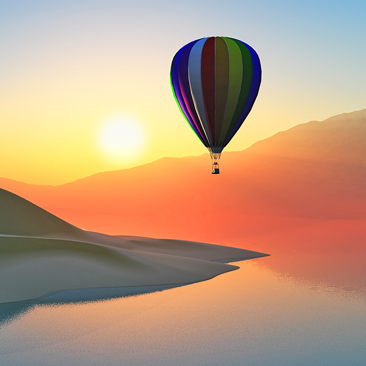 Hot air balloon ride at sunset