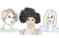 Illustration of women with styled short haircuts