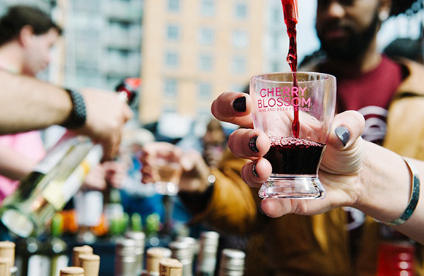 Drink being poured at Cherry Blossom fest