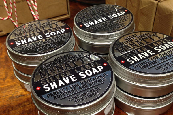 A stack of Mr Natty Silver Level Shave Soap