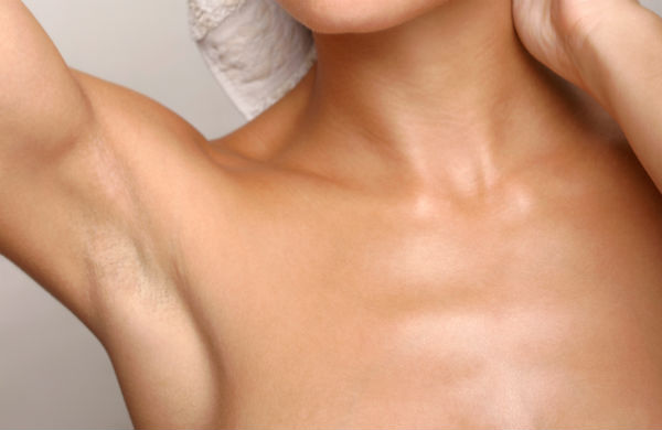 Woman's armpit after laser hair removal treatment