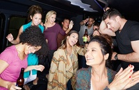 People having fun on party bus