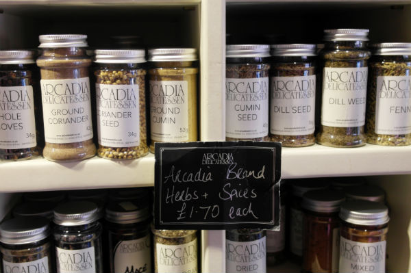 Jars of herbs and spices in Arcadia in Belfast