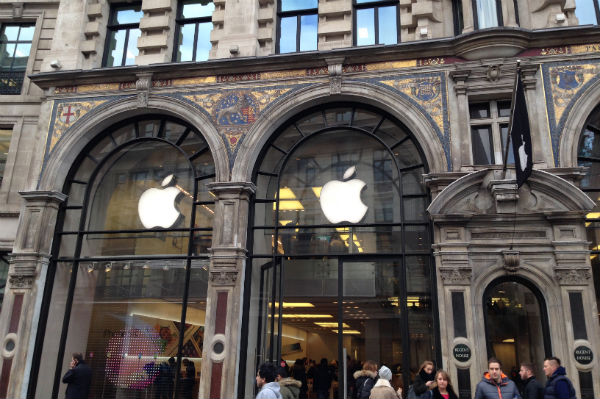 The exterior of the Apple Store on Regent Street in London