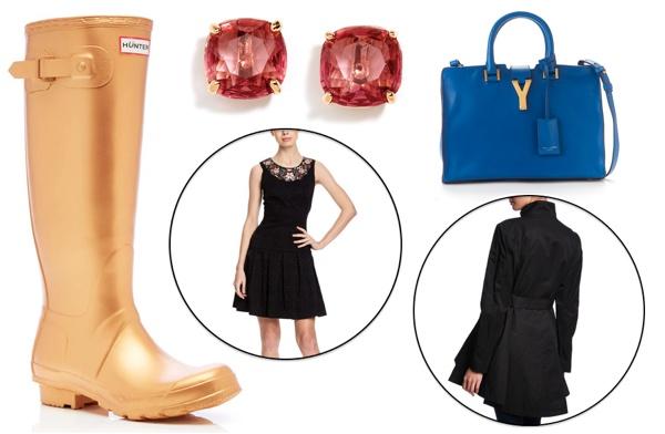 glam rain boots collage