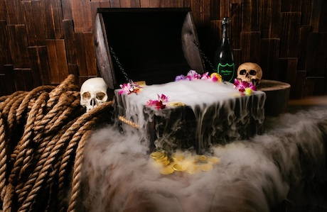 this 400 dollar cocktail served in a treasure chest will attract some attention in mostly good ways