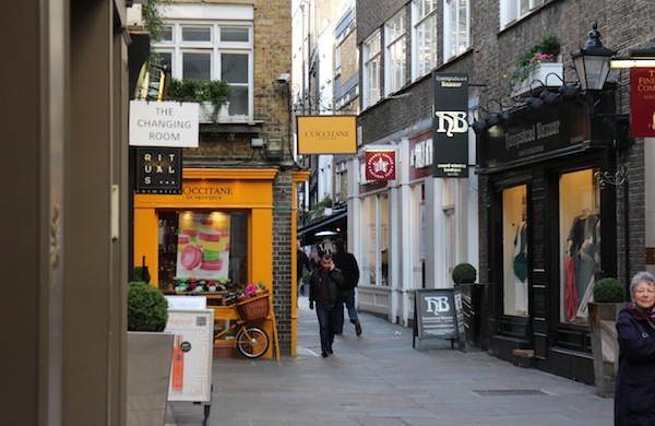 Outside the L'Occitane store in St Christopher's Place